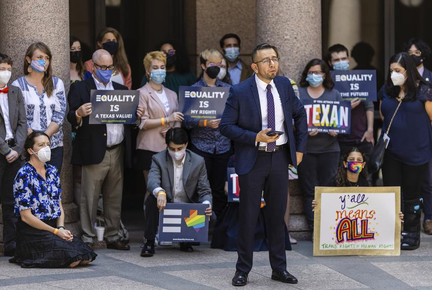 Equality Texas CEO Ricardo Martinez speaks in support of transgender rights at the Texas Capitol on April 12. Texas is one o…