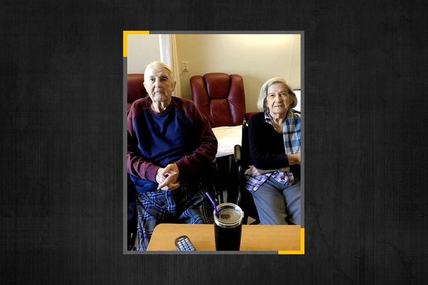 The Stalbaum couple in May 2020, about two months after all Texas' nursing homes were locked down to stop the spread of COVI…