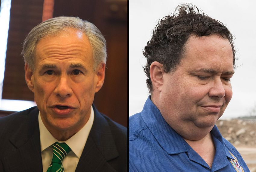 Gov. Greg Abbott (left) and former U.S. Rep. Blake Farenthold, R-Corpus Christi.