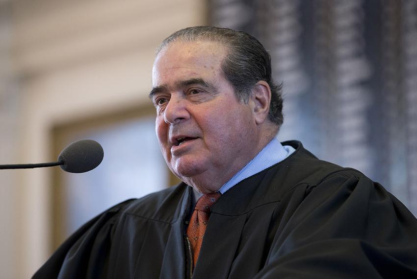 Longtime Supreme Court Associate Justice Antonin Scalia speaks in the Texas House chamber on Nov. 11, 2013.  Scalia, 79, pas…