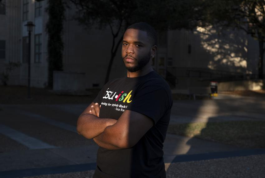 Brian Kirksey, vice president of the black student union at the University of Houston, poses for a portrait on campus on Jan…