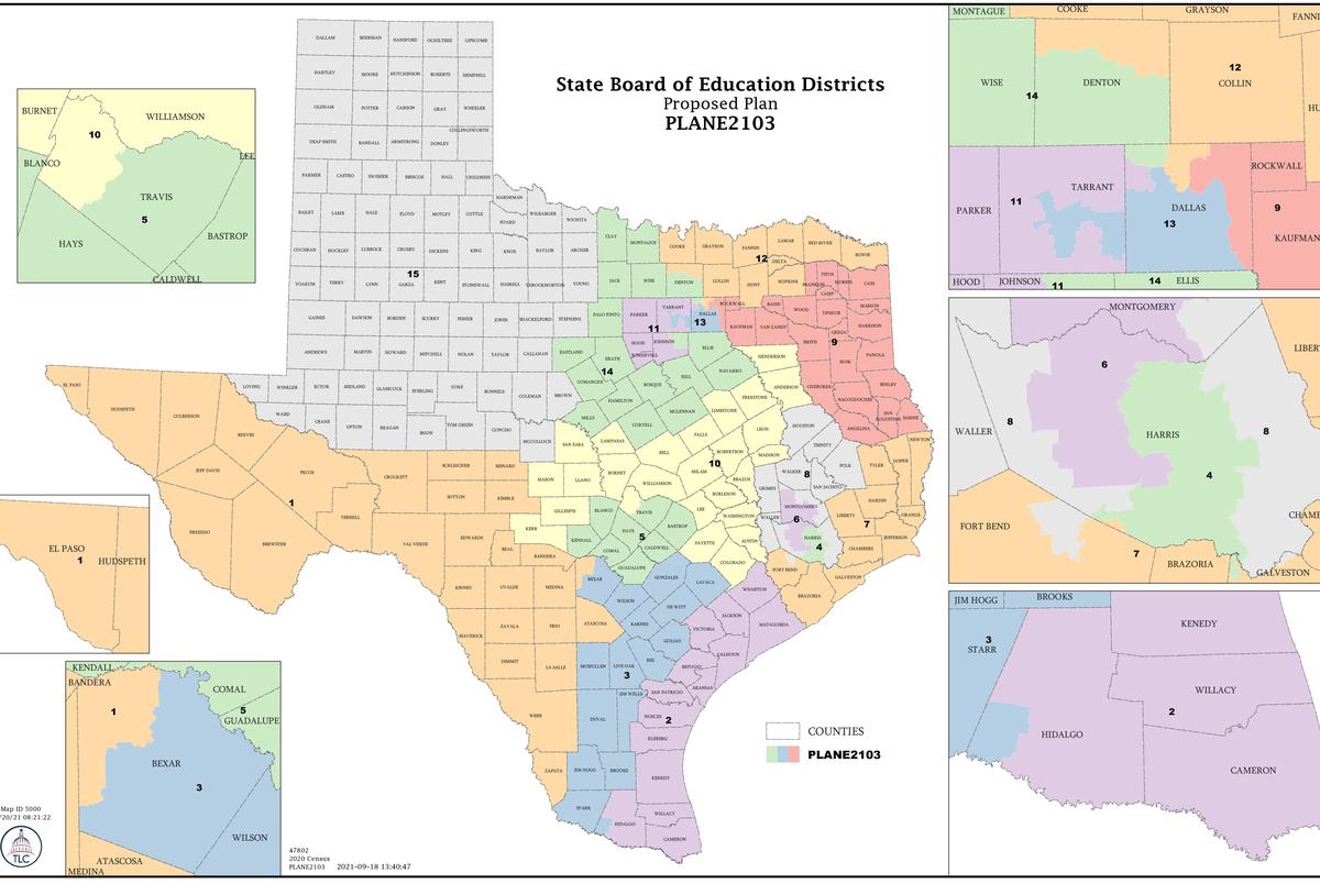 The Texas Legislature's first draft of a new redistricted map for the 15 member State Board of Education.