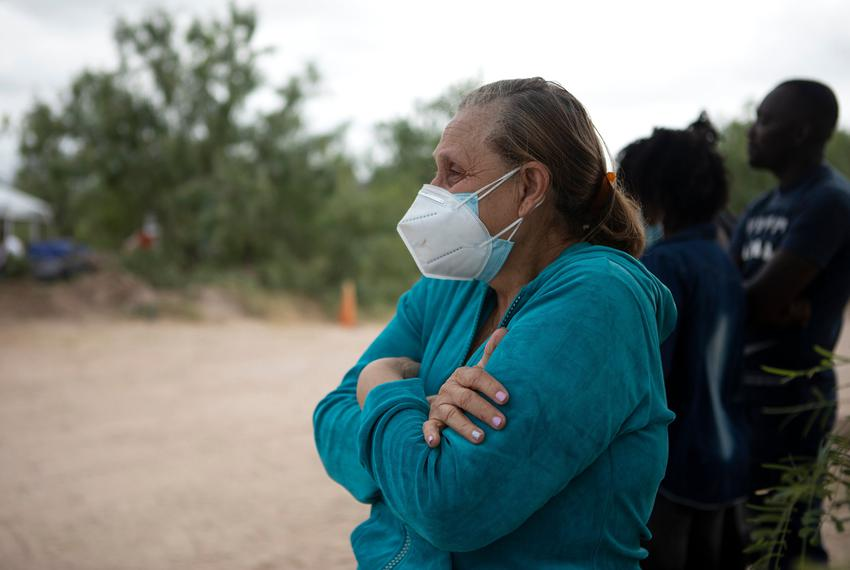 TKTK watches as her husband is arrested by a Texas Department of Public Safety official near the U.S. and Mexico border in D…