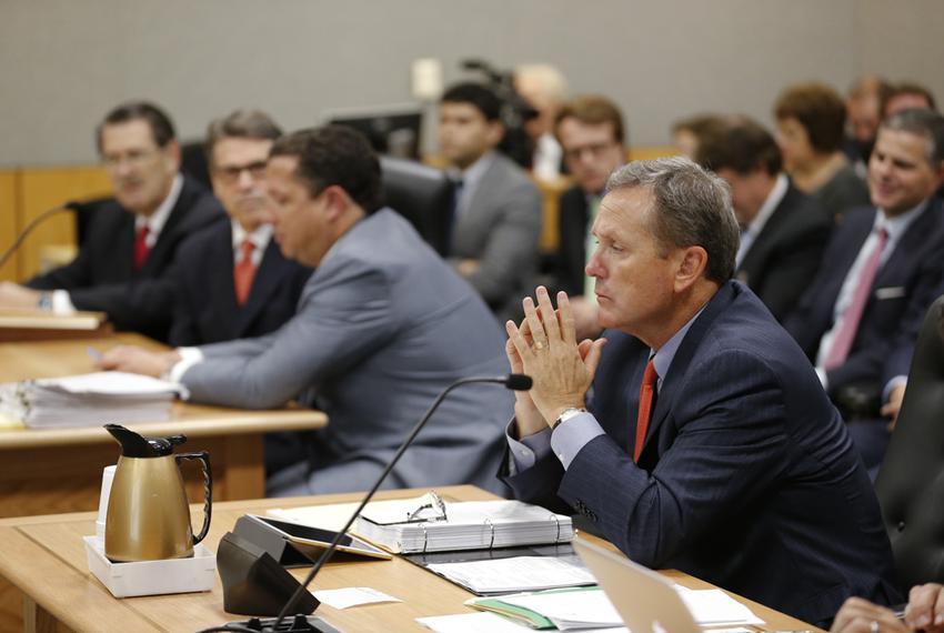Prosecutor Michael McCrum gathers his thoughts as testimony continues in Travis County District Court on the Gov. Rick Perry…