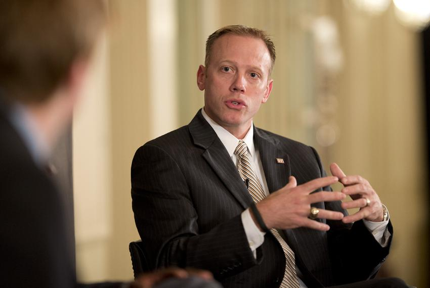Ryan Sitton, the incoming Texas Railroad Commissioner, speaks at a Texas Tribune event on Oct. 30, 2014.