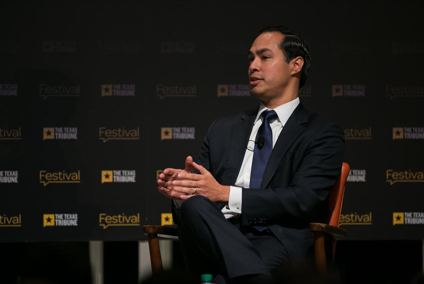 U.S. Housing and Urban Development Secretary Julián Castro is interviewed by Texas Tribune CEO and Editor-in-Chief Evan Smit…