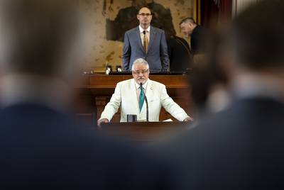 State Rep. Dan Huberty, R-Houston, listens to testimony from State Rep. Dustin Burrows, R-Lubbock, on HJ3. Huberty seeks to postpone a vote on the bill related to a sales tax increase. May 7, 2019.