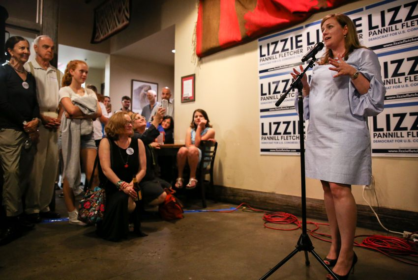 Lizzie Pannelli Fletcher speaks to her supporters at her election party at Buffalo Grille in Houston on May 22, 2018.