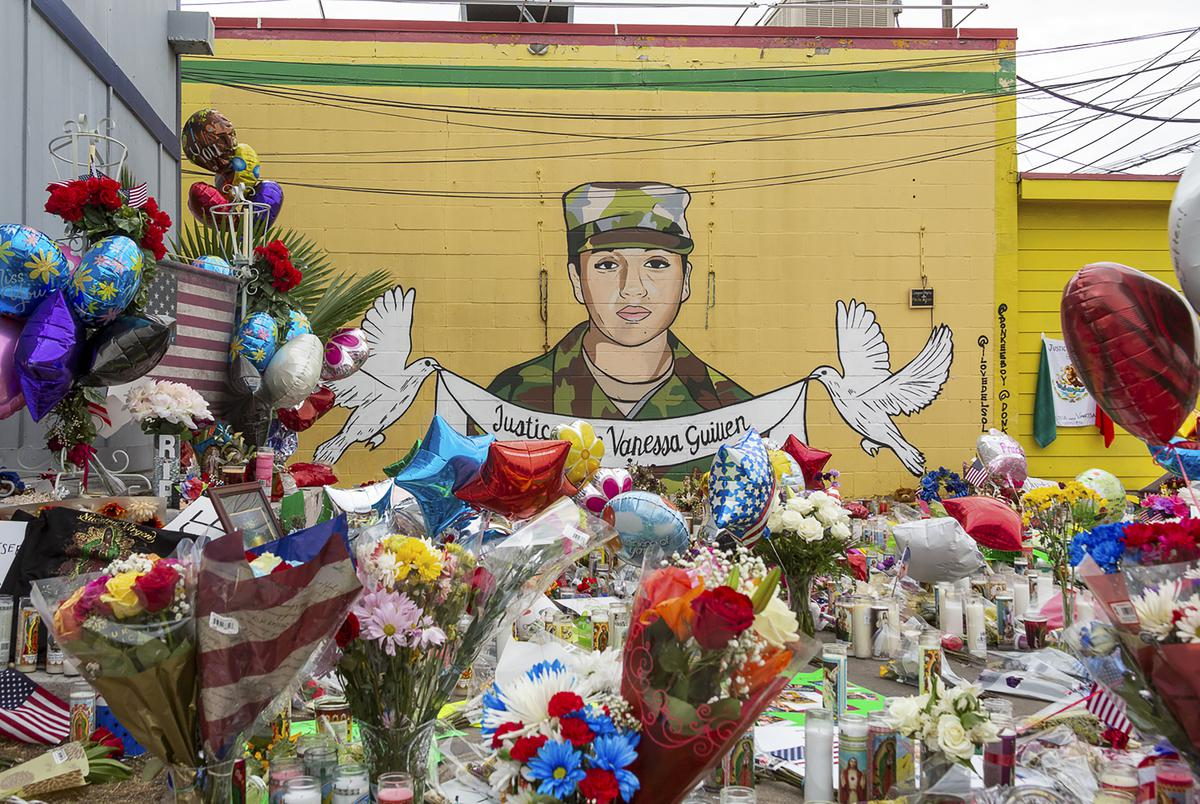 People gathered at a mural and memorial honoring Army Specialist Vanessa Guillén at Taqueria del Sol on Sunday, July 5, 2020.