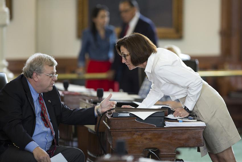 State Sen. Lois Kolkhorst, R-Brenham, talked with fellow Sen. Paul Bettencourt, R-Houston, during the Senate discussion of S…