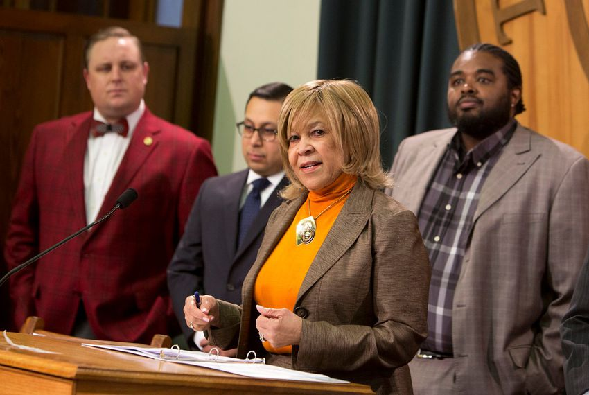 """StateRep. Helen Giddings, D-De Soto, speaks during a press conference regarding the """"lunch shaming"""" bill on May 23, 2017."""