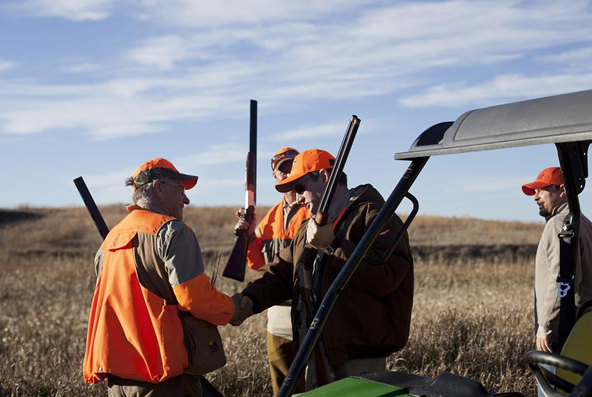 Rep. Steve King, R-Iowa, greets Sen. Ted Cruz at King's annual pheasant hunt at the Hole N' the Wall Lodge in Akron, Iowa on…