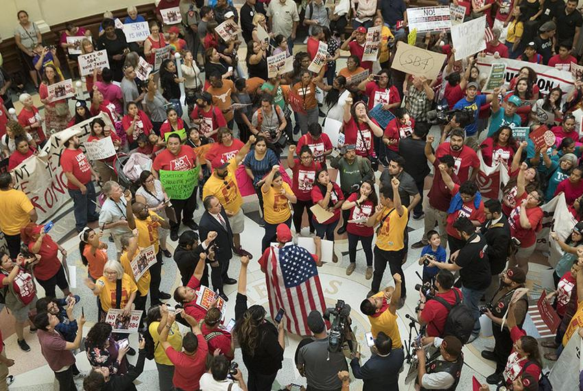 A massive protest engulfs the Capitol Rotunda as anti-SB 4 protesters rally on May 29, 2017, the last day of the 85th legisl…