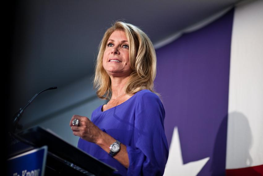 State Sen. Wendy Davis, the 2014 Democratic nominee for governor, addressing supporters on July 13, 2014, in East Austin.