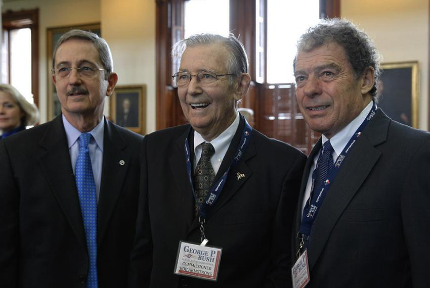 Three former Texas land commissioners — (l-r) Jerry Patterson, Bob Armstrong and Garry Mauro — at the swearing-in ceremony o…