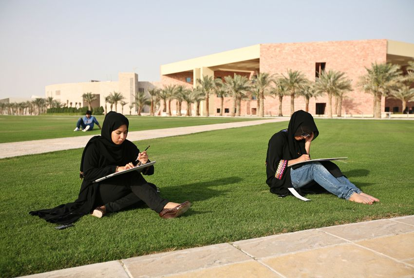 Students at Texas A&M students in Doha, Qatar.