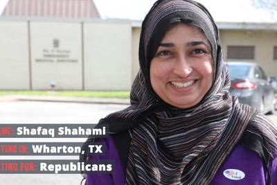 "Shafaq Shahami, 39, voted for Republicans in the 2018 midterms. ""It's my duty to vote here, using my rights to make a difference,"" Shahami said."