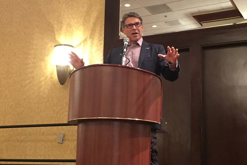 Former Gov. Rick Perry speaking to the Texas delegation at the Republican National Convention in Cleveland on July 18, 2016.