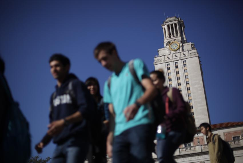 Students on the campus of the University of Texas at Austin.