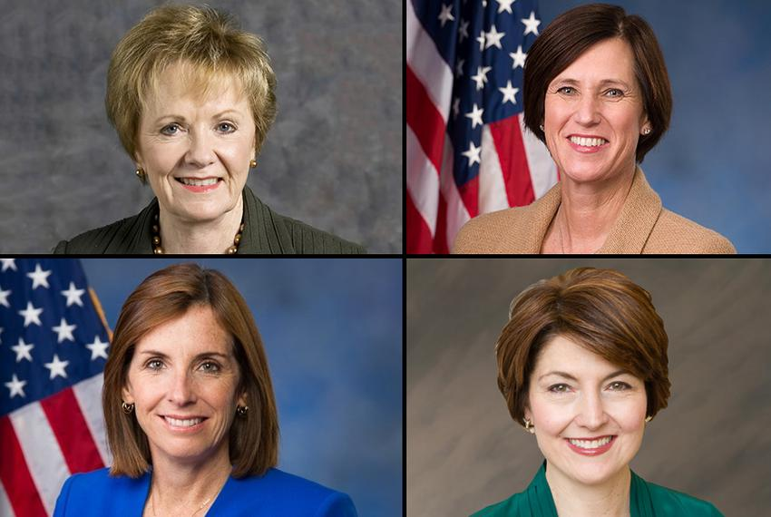 Clockwise from upper left: U.S. Reps. Kay Granger of Texas, Mimi Walters of California,  Cathy McMorris Rodgers of Washingto…