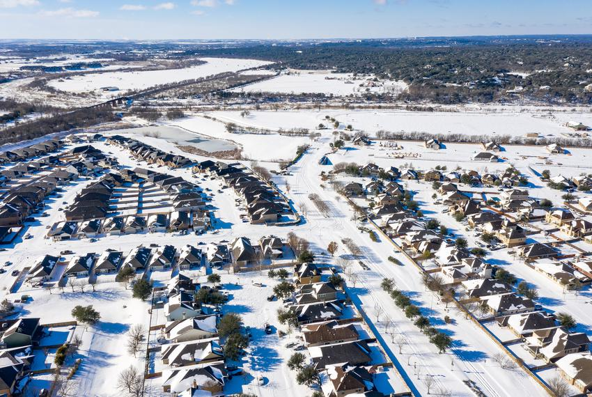 The Blanco Vista neighborhood of San Marcos is blanketed with several inches of snow as a massive winter weather system caus…
