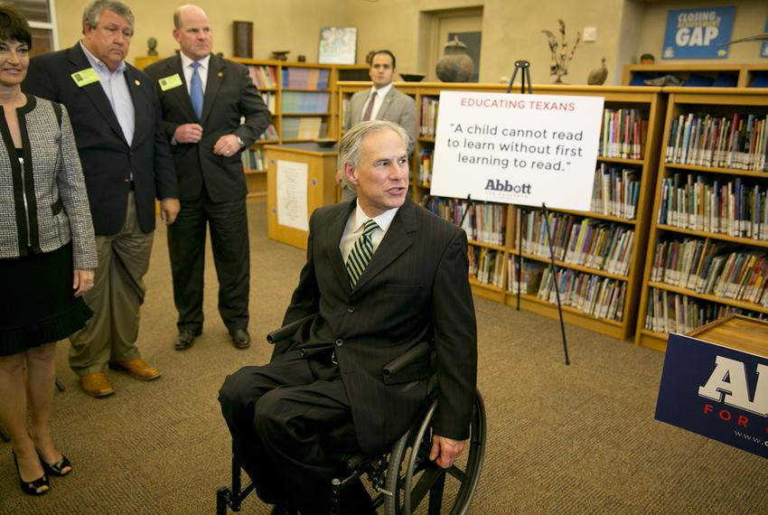 Attorney General Greg Abbott promoting his pre-kindergarten education proposal on April 2, 2014, at the IDEA Carver Academy …