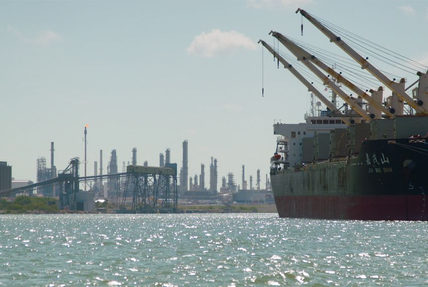 A vessel from Hong Kong in the Corpus Christi ship channel on June 6, 2018.