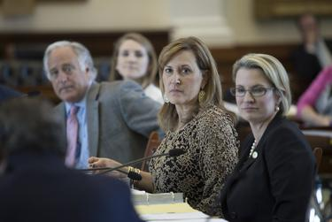 Sen. Konni Burton, R-Colleyville (center), along with colleagues Sen. Kirk Watson, D-Austin, and Sen. Dawn Buckingham, R-Lakeway, listen to testimony at Senate Health and Human Services Committee on April 5, 2017. The committee is considering SB 602 which would potentially close up to five of 13 state support living centers in Texas.