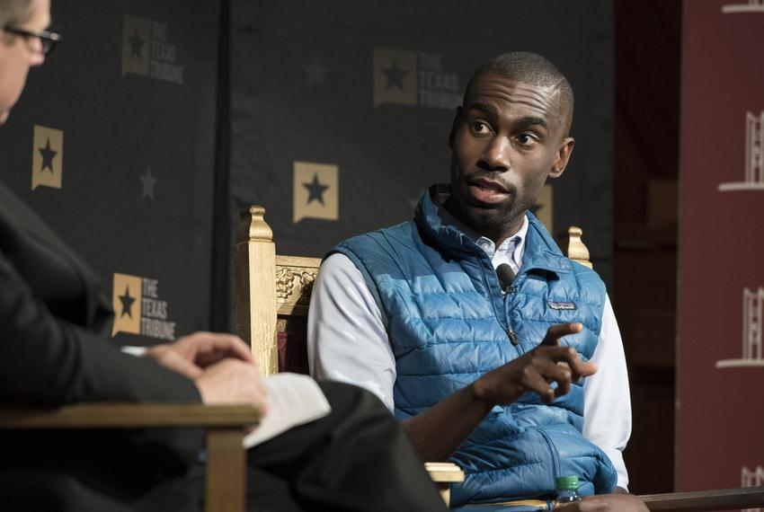 DeRay Mckesson, civil rights activist, speaking with Evan Smith at the Race in the Age of Trump panel at A Symposium on Race…