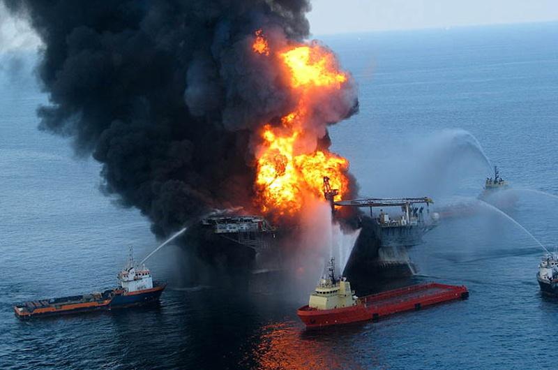 The Deepwater Horizon fire in 2010.