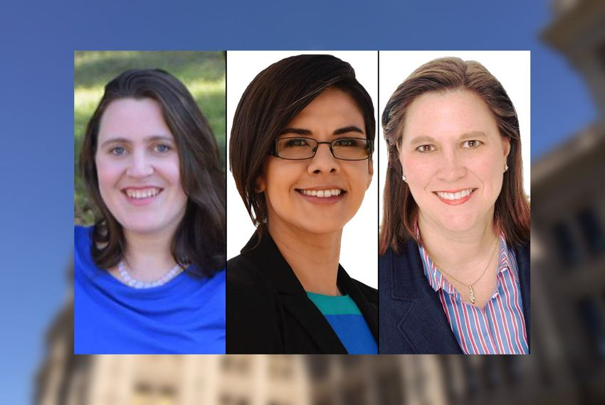Left to right: State Reps.-elect Erin Zwiener, HD-45, Jessica González, HD-104, and Julie Johnson, HD-115.