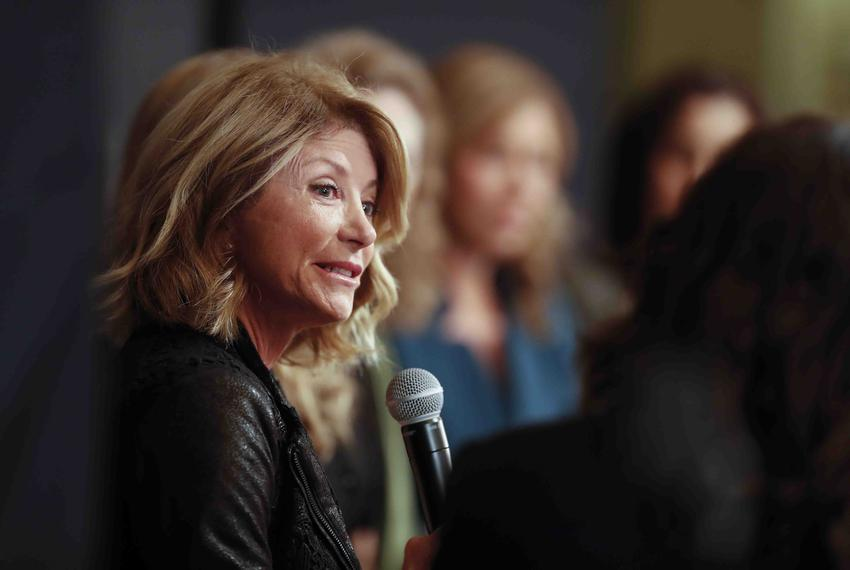 Former State Sen. Wendy Davis answers a question from reporter Alexa Ura during a panel discussion on sexual harassment at t…