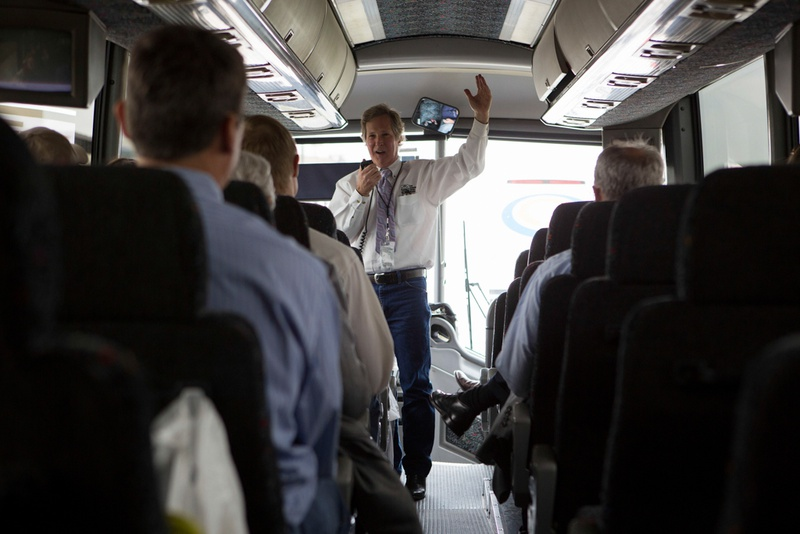 Greg Eckhardt of the San Antonio Water System speaks to visitors during their tour of a SAWS facilities.