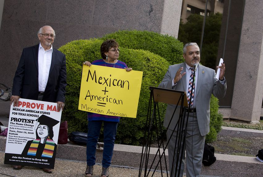 State Board of Education member Ruben Cortez, a Democrat, spoke at a rally outside the offices of the Texas Education Agency to call for a newly approved course to be named Mexican-American Studies. The State Board of Education heard public testimony on the matter later on Tuesday.