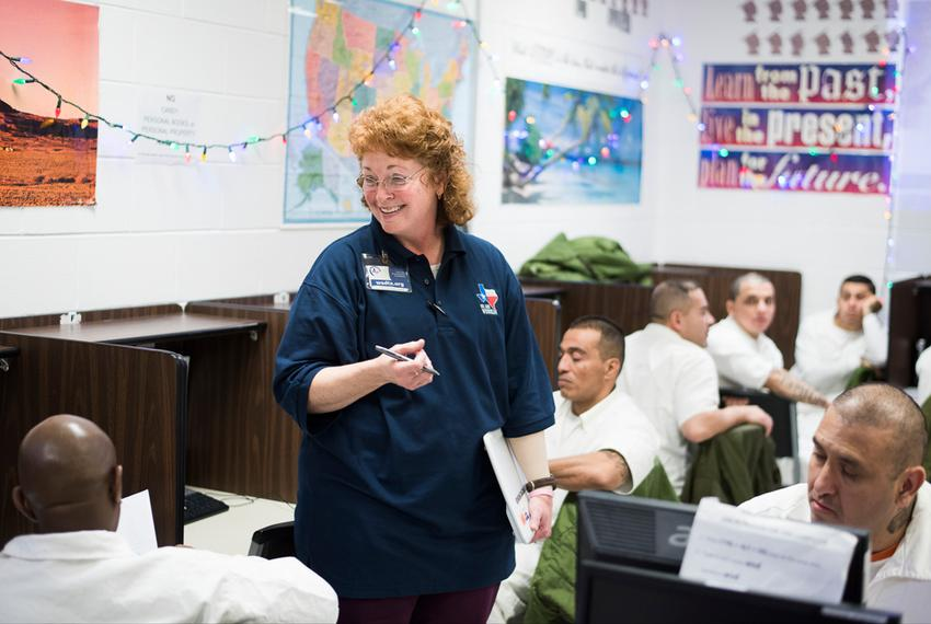 Windham School District teacher Jody Addy teaches a class at the Robertson Unit in Abilene, Texas on Dec. 4, 2015. Addy ha...