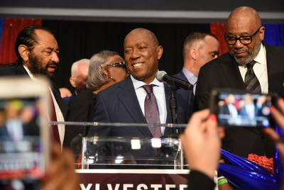 Houston Mayor Sylvester Turner addresses supporters at his election night party at the George R. Brown Convention Center in Houston on Nov. 5, 2019.
