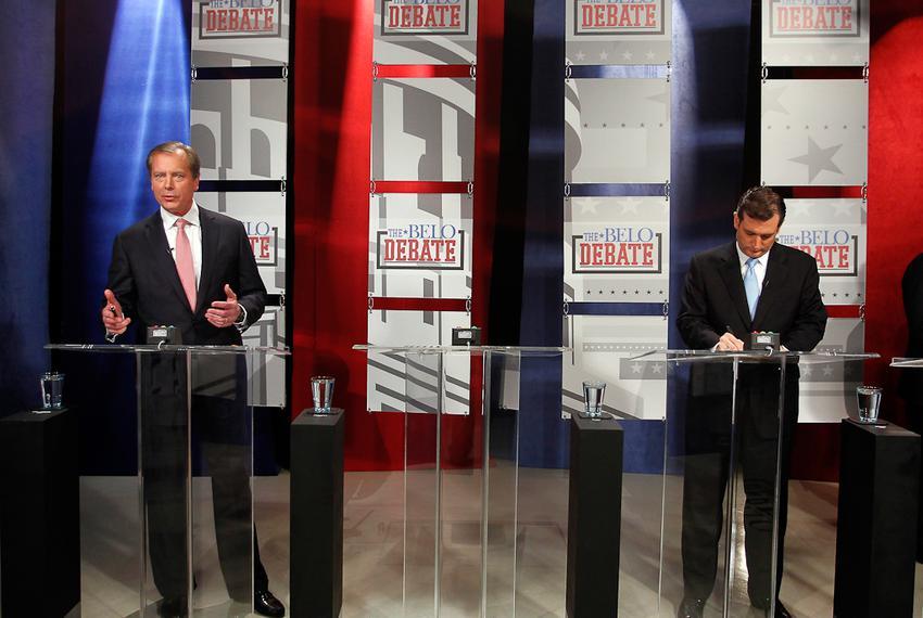 Lt. Gov. David Dewhurst and Ted Cruz at a Belo-sponsored U.S. Senate debate on April 13, 2012.