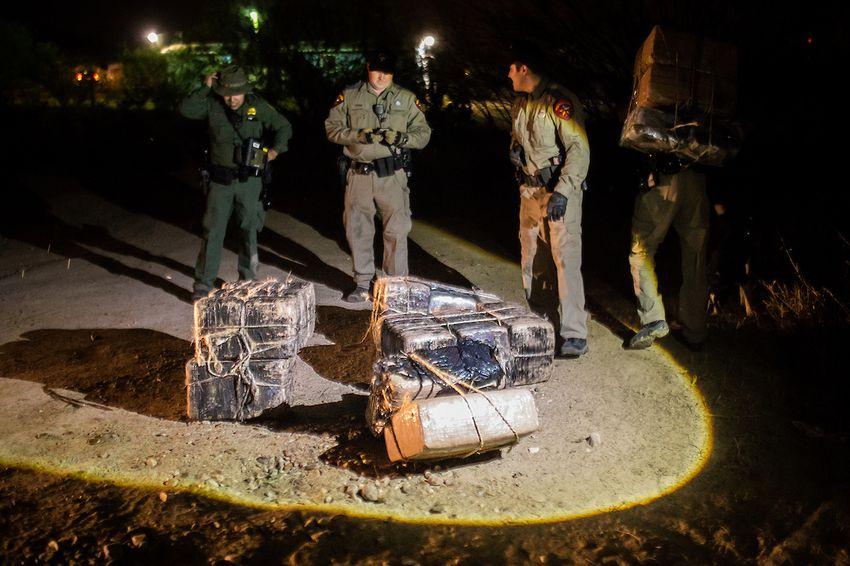 Bundles of marijuana seized by Border Patrol and DPS agents near Roma, TX, on Mar. 8, 2016.