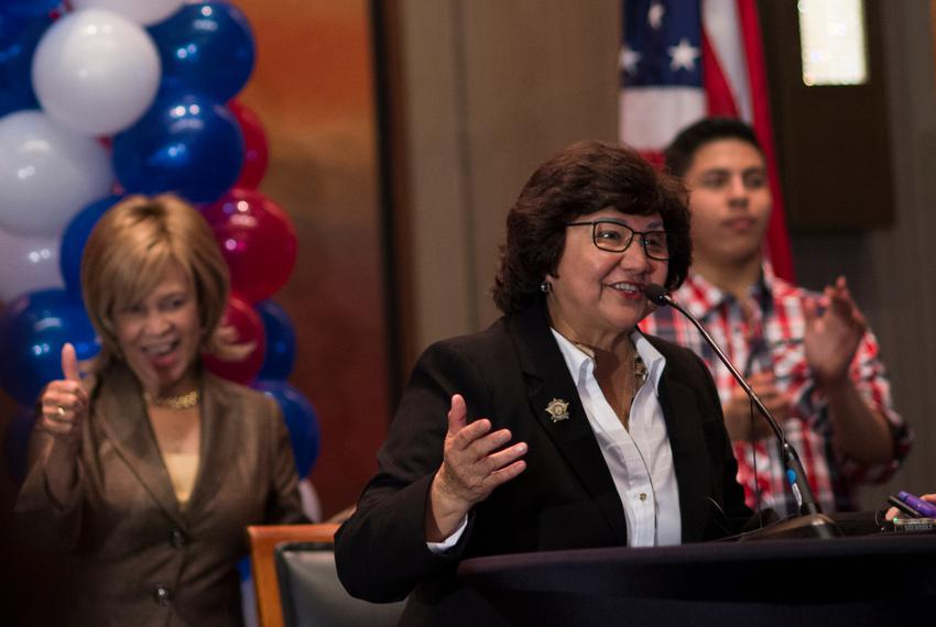 Dallas County Sheriff Lupe Valdez speaks during the Dallas County Democratic watch party in Dallas, Texas, on Nov. 8, 2016.