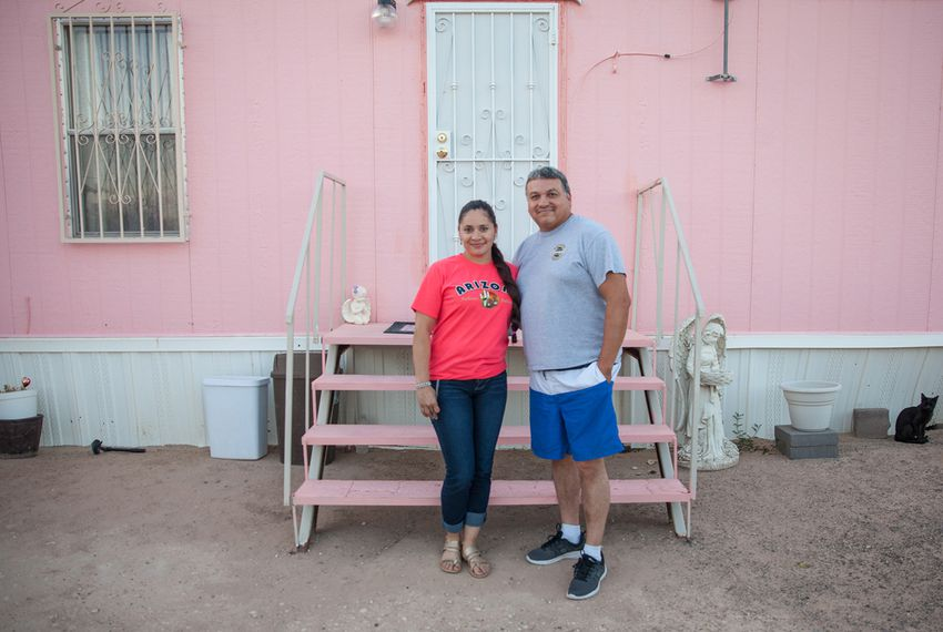 Cristina Morales and her husband, Rafael Martinez, said they don't plan on moving from Horizon View Estates, a colonia in El Paso County. The colonia has no sewage treatment, and they said the tap water occasionally comes out brown.