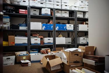Boxes of case files at the Harris County public defender's office in Houston.