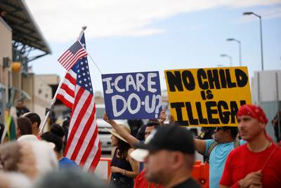 "Demonstrators at the ""Families Belong Together"" rally in El Paso on June 30, 2018. 