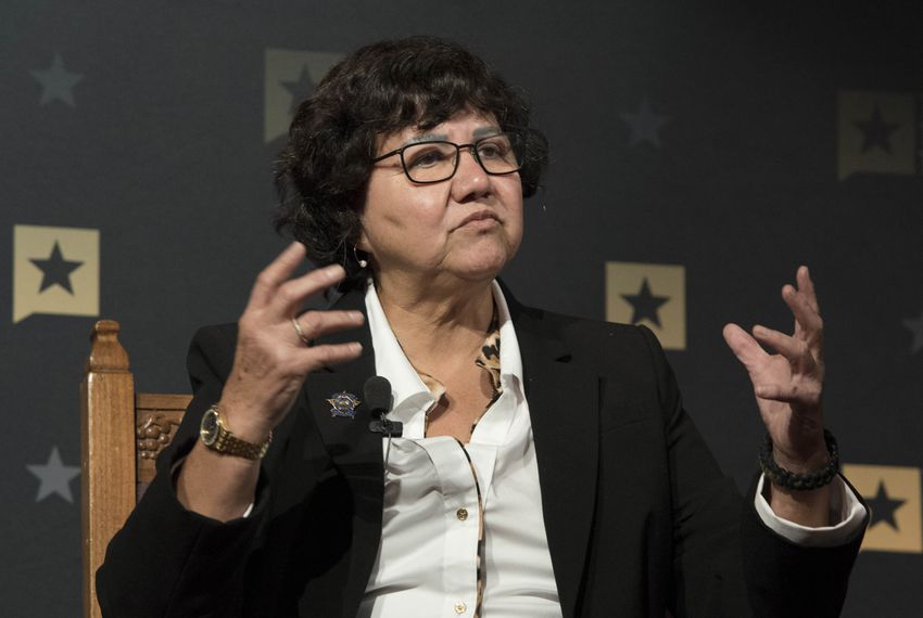 Lupe Valdez, Dallas County Sheriff, speaking on the Race and Policing in Texas panel at A Symposium on Race and Public Policy. Jan 14, 2017.