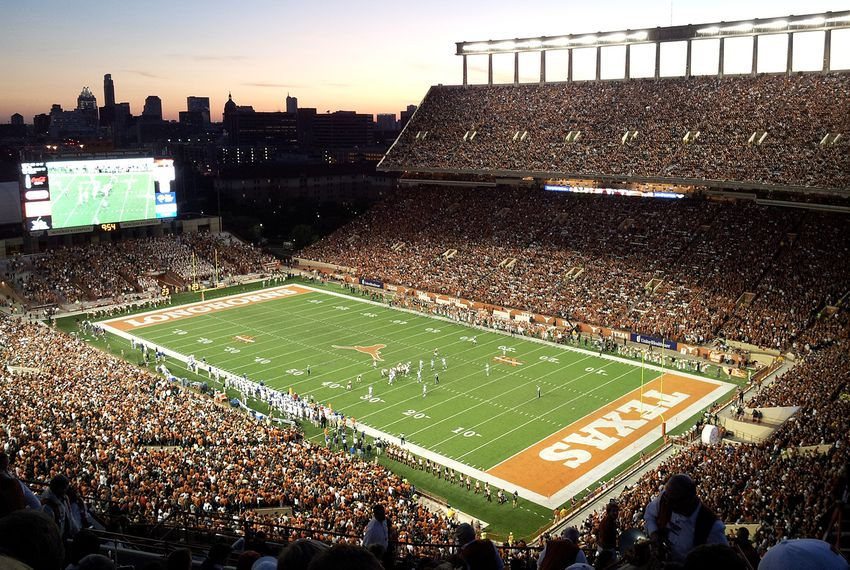 The Darrell K Royal–Texas Memorial Stadium in Austin.