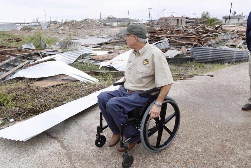 Gov. Greg Abbott surveys the widespread destruction from Hurricane Harvey in Rockport on Monday afternoon, Aug. 28, 2017.
