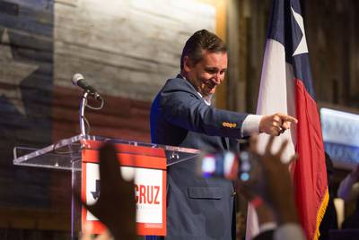 Ted Cruz speaks to supporters during his U.S. Senate re-election campaign kick-off in Stafford, Texas, on April 2, 2018.