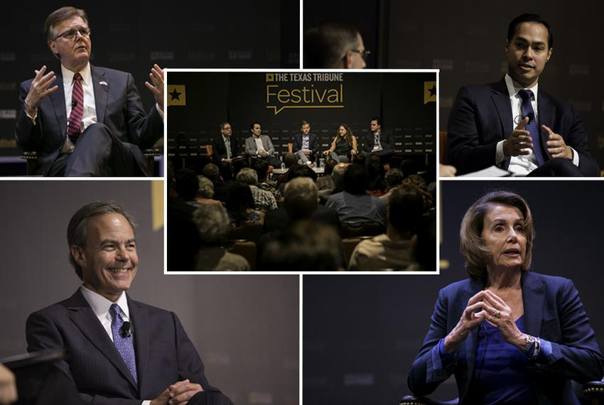 The 2015 Texas Tribune Festival's keynote sessions included one-on-one conversations with Lt. Gov. Dan Patrick (clockwise, f…