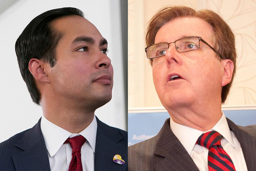 San Antonio Mayor Julian Castro, a Democrat, and State Sen. Dan Patrick, a Republican who is running for lieutenant govern...