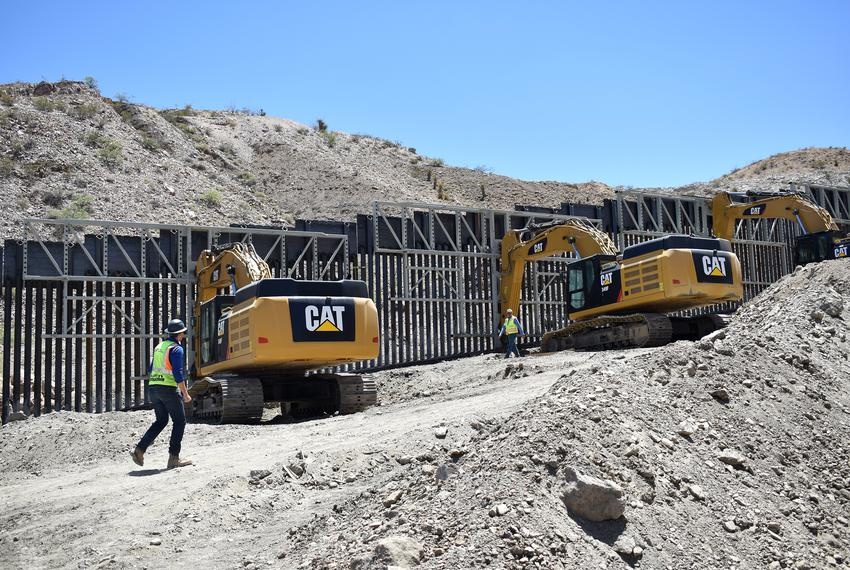 A portion of the border wall built by We Build The Wall, a private group that raised money through a GoFundMe account, on ...