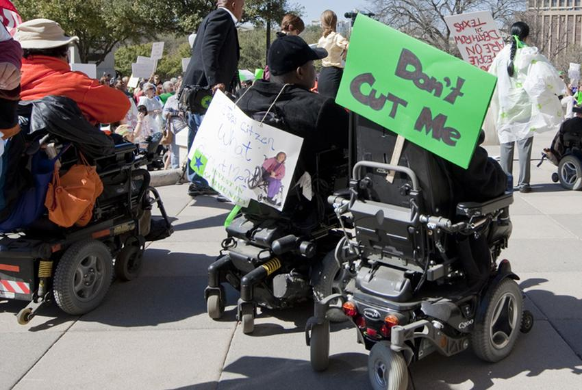People with disabilities protest at the Texas Capitol against budget cuts to home and community-based services on March 1, 2…